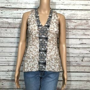 Sweet Pea Stacy Frati Tank Top Shirt Tan Ivory